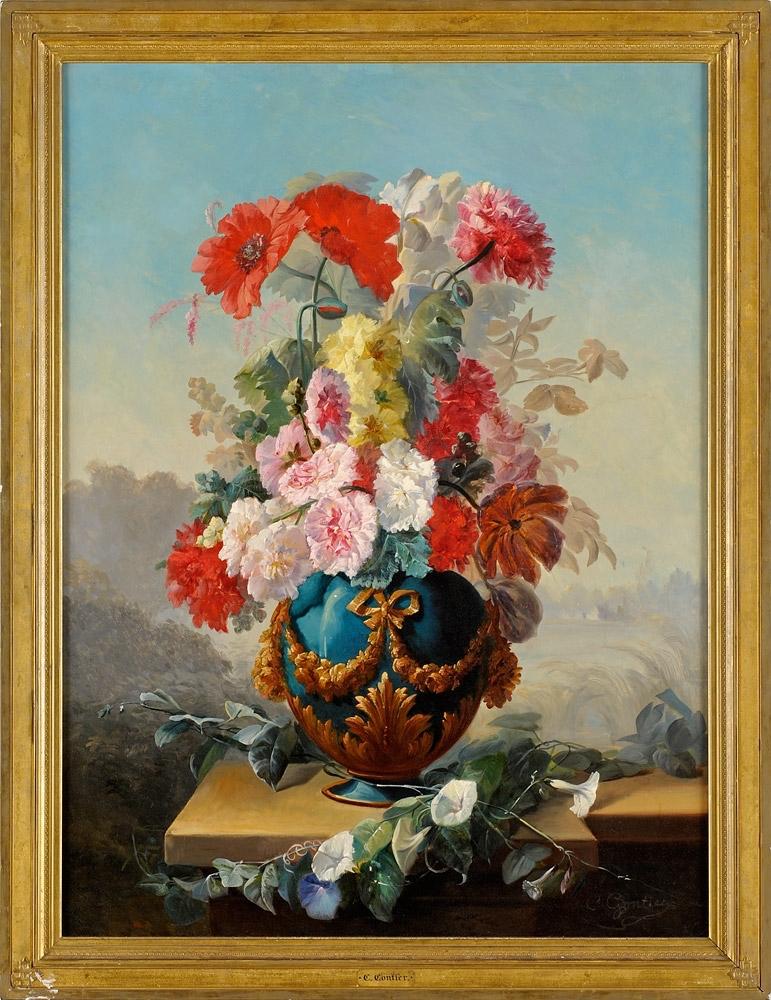 Clement Gontier - Flower Still life Original European 19th Century Oil Painting Dusseldorf French Peinture Nature Morte