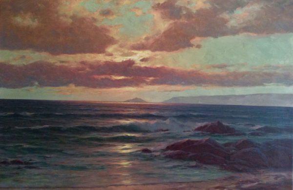 Carl Kenzler (1872 Berlin - 1947 Potsdam) - Sunset over the coast