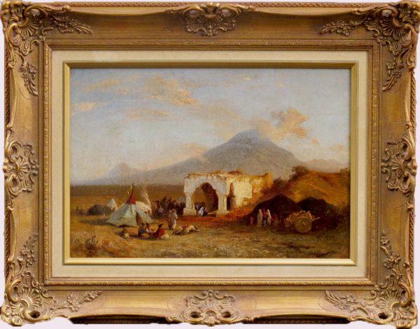 "Пауль фон Франкен (1818 Обербахем - 1884 Дюссельдорф) ""Гробница Ноя"" Paul von Franken Noah's Mausoleum with the view of the Holy Mountain of Ararat Original European 19th Century Oil Painting Dusseldorf"