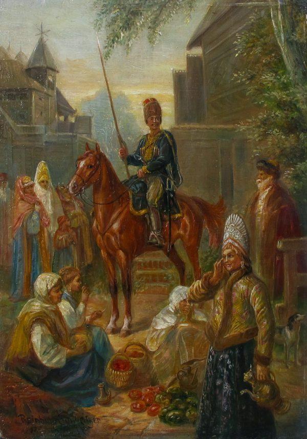 Reinhold Schweitzer (Munich, 1876 - 1940) - Scene at the Market in South Russia