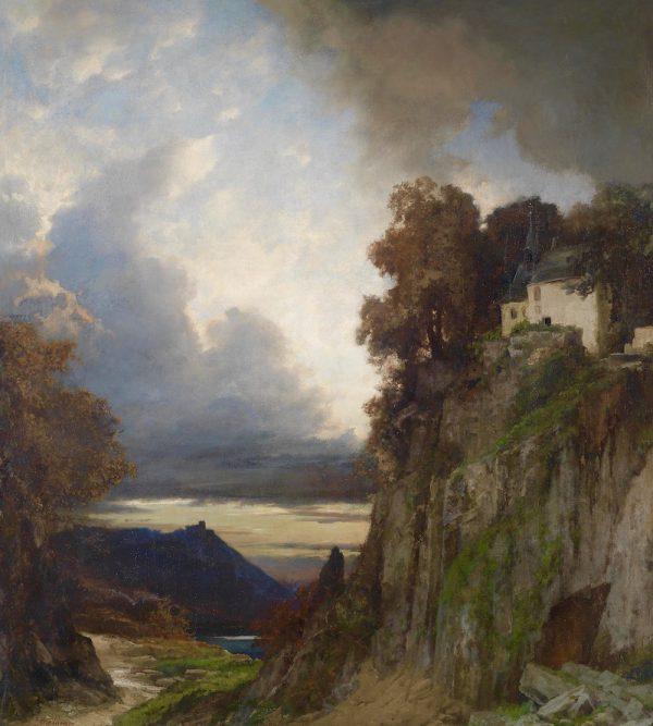 Albert Flamm (1823 Cologne - 1902 Düsseldorf) - Evening mood at the Rhine