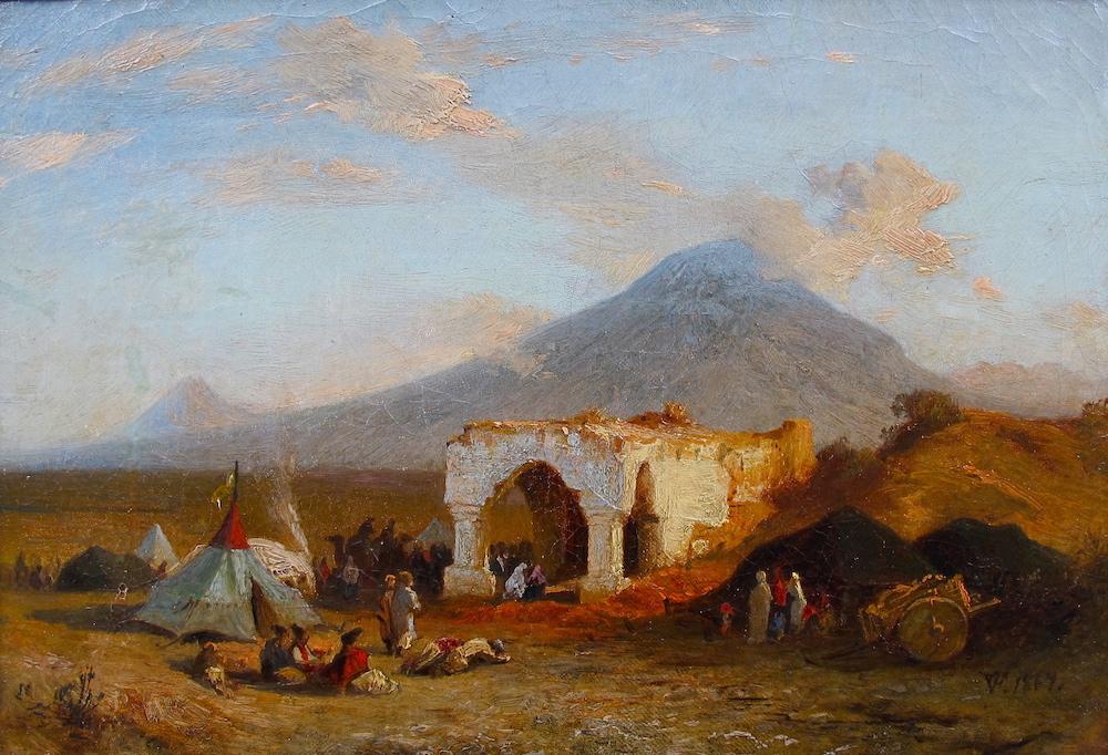 Paul von Franken Noah's Mausoleum with the view of the Holy Mountain of Ararat Original European 19th Century Oil Painting Dusseldorf