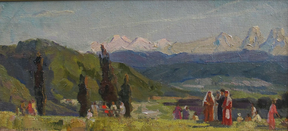 Nicolai Tryndyk (1916 - 1987) Праздник на Кавказе Oil on canvas, 28 x 55 cm