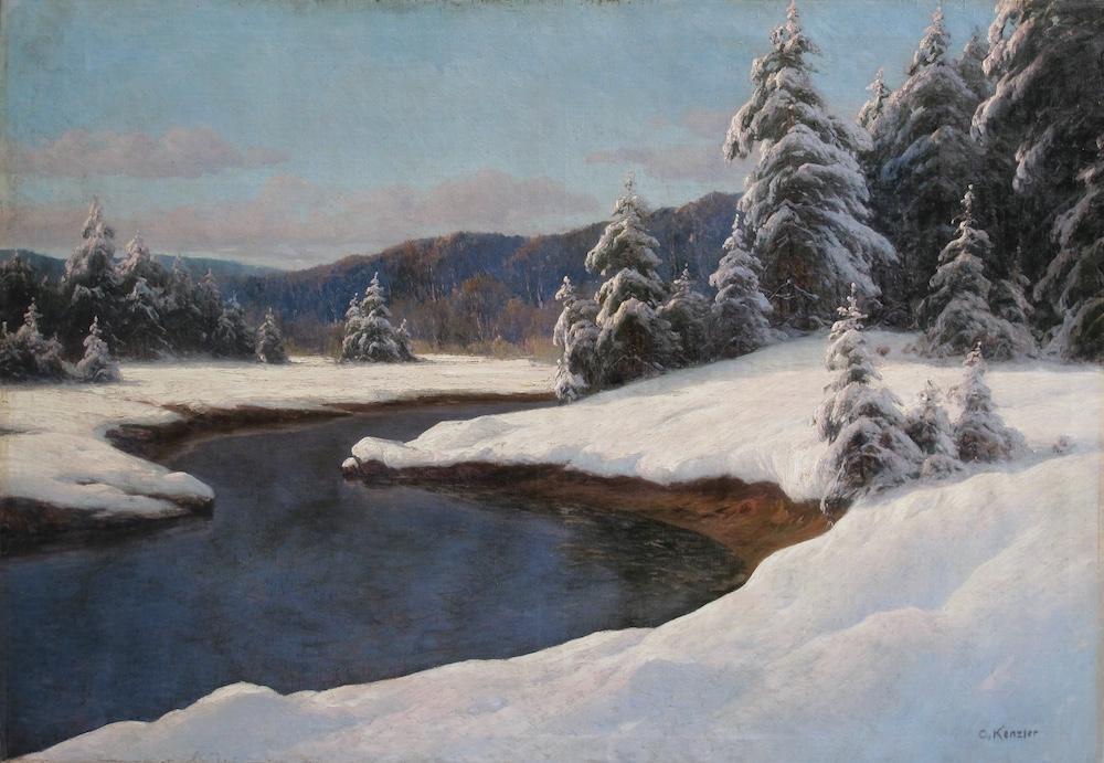 Карл Кенцлер (1872 Берлин -1947 Потсдам) - Зимний пейзаж у озера