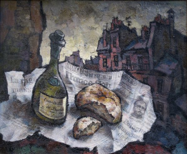 """Oskar Yakovlevich Rabin (Moscow, 1928) """"Stillife with bread an Eau de Vie"""" (1984) No.868 Born in 1928, Oskar Yakovlevich Rabin's work, celebrated in the West as 'Solzhenitsyn in painting', honestly and eloquently reflected the mood in society during the 1960's and 1970's. An outstanding master with a deeply individual way of seeing the world, Oskar Rabin was one of the originators of non-conformism and one of the organisers of the 'Lianozovo Group' which grew up around Evgeny Kropivnitski. Over a period of seven years (1958-1965), the former camp barracks in Lianozovo, where Oskar Rabin lived with his wife, Valentina Kropivnitskaya, acted as the centre of the progressive intelligentsia. Surrounded by his family, life in a Moscow suburb with 'ignoble' objects from everyday Soviet material life and its dramatic absurdity was for many years the central theme of Rabin's creativity. The artist's favourite genres included landscape, still-life and interiors, continuing in the tradition of 1920's European expressionism. Trying to imbue his painting with a social-critical tone and bring out the 'anti-humanity' of modern man's environment, Rabin uses a distortion of perspective, the principals of deformation and the destruction of large-scale relationships. Through his emotionally saturated style, as well as his laconic manner, Rabin interweaves different genres and artistic devices, elements of collage and assemblage are introduced into the paintings. The drama of the works is highlighted by chronological 'markers', denoted by fragments of newspapers, stickers and labels. The uncorrupted truth of life, seen by the communist authorities as dissidence, released from the chains social-realism, was cause for Oskar Rabin to lose his Soviet citizenship. Moving to Paris in 1978, he gained there new inspiration and international recognition. The painting Stillife with bread an Eau de Vie (1984) No.868 was confirmed as original work by himself from 1984. For more detailed informatio"""