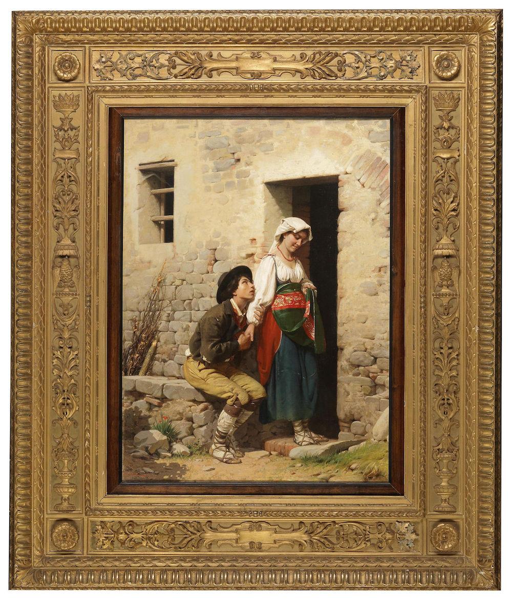 Giuseppe Ciaranfi A declaration of love Una dichiarazione d'amore Original European 19th Century Oil Painting Dusseldorf