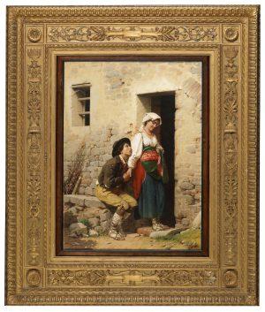 Джузеппе Чиаранфи (1838 Пистоя - 1902 Флоренция) Объяснение в любви живопись Картины оригинал 19 век европейский интерьер