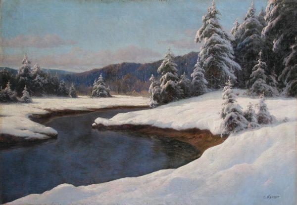 "Fine Art Paintings: Carl Kenzler ""Winter Landscape at the River"" Зимний пейзаж картина. Original European Fine Art Paintings"